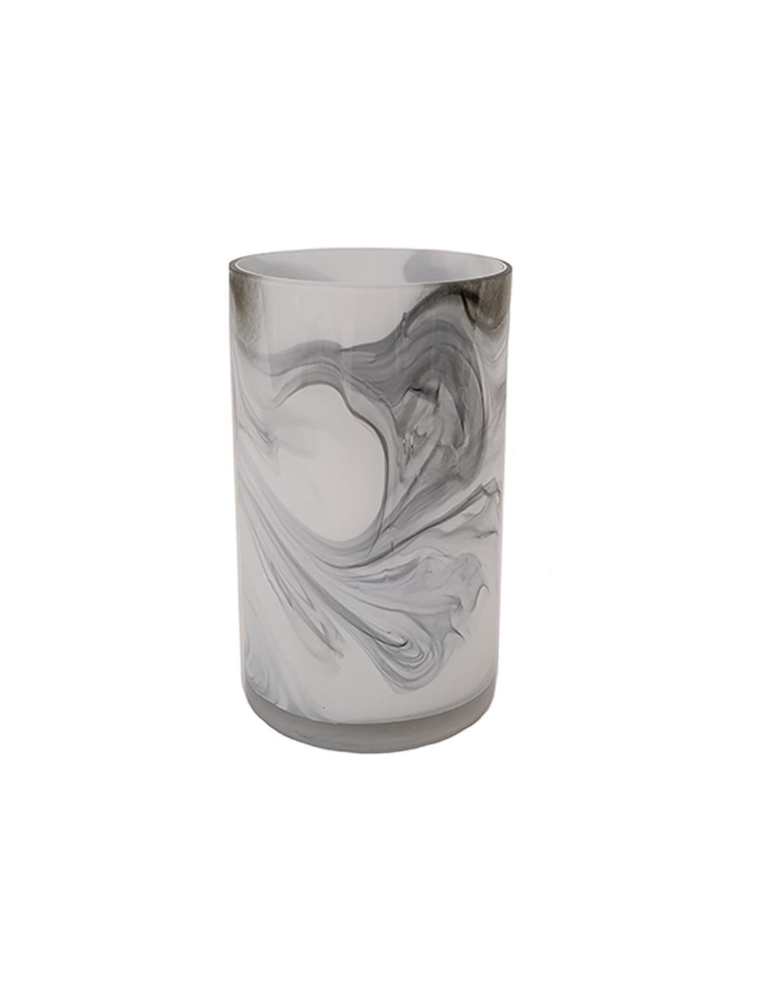 Βάζο marble γυάλινο λευκό/μαύρο 15x25cm