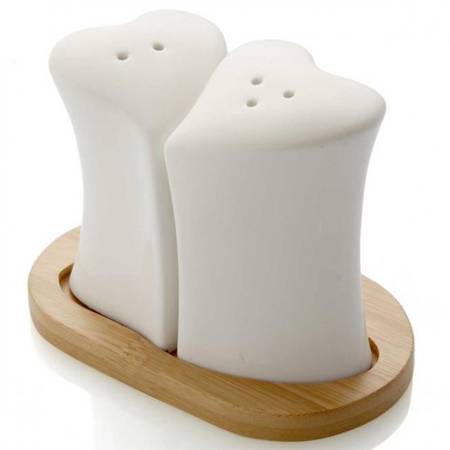 Σετ αλατοπίπερο Heart Brandani πορσελάνινο/bamboo λευκό/natural 13.5x8x9.5cm Marva 55447