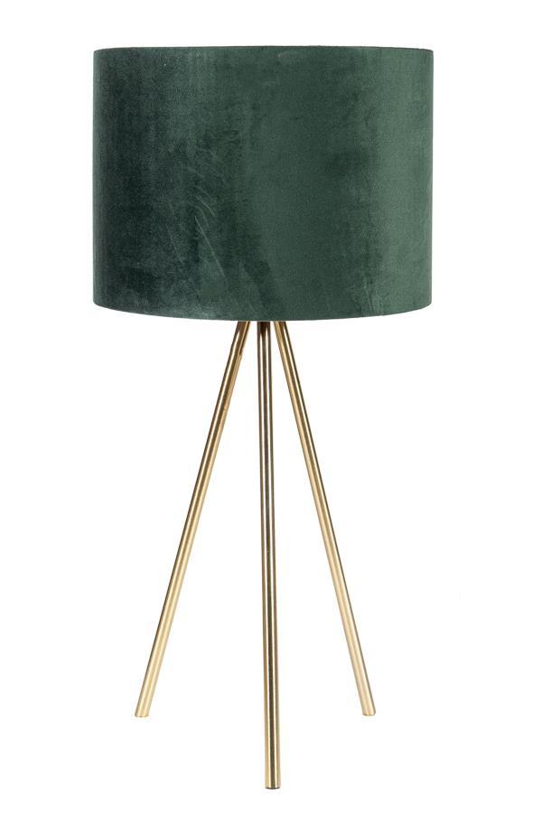 Λάμπα επιτραπέζια με βελούδινο κυπαρισσί καπέλο & μεταλλικά χρυσά πόδια
