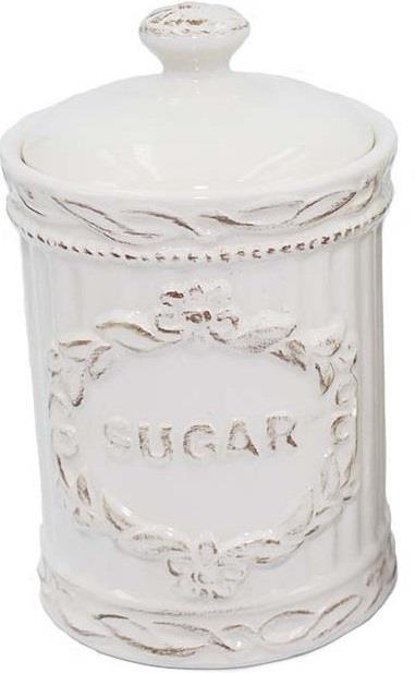 Βάζο ζάχαρης κεραμικό λευκό/μπεζ 16.5cm