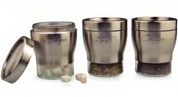 Σετ 3 βάζα κουζίνας sugar-coffee-tea inox/γυάλινα ασημί