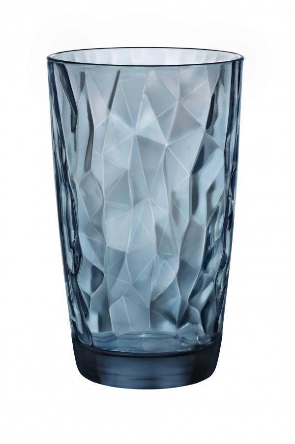 S/6 Ποτήρια σωλήνα Diamond γυάλινα μπλε 47cl Bormioli Rocco