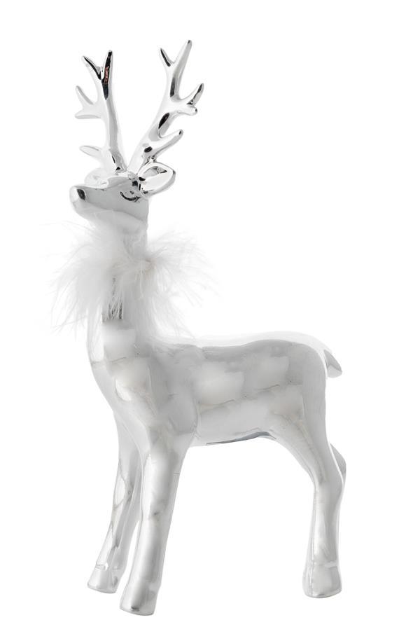 Τάρανδος όρθιος κεραμικός ασημί με λευκά πούπουλα 14.3x7.5x24.5cm