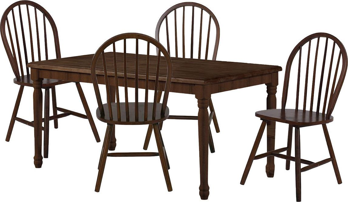 S/5 Τραπέζι Oslo-W με 4 καρέκλες Boston ξύλινο σκούρο καρυδί 120x75x75cm Home Plus 02.01.0091-1