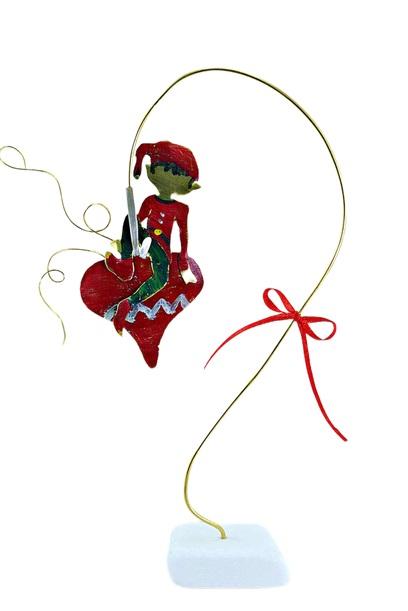 Χειροποίητο διακοσμητικό επιτραπέζιο ξωτικό σε καρδιά ορειχάλκινο κόκκινο 13x22cm