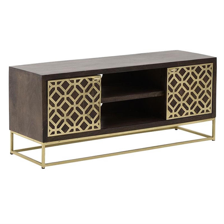 Έπιπλο tv με ντουλάπια ξύλινο/μεταλλικό καφέ χρυσό 130x40x55cm Inart 3-50-350-0030
