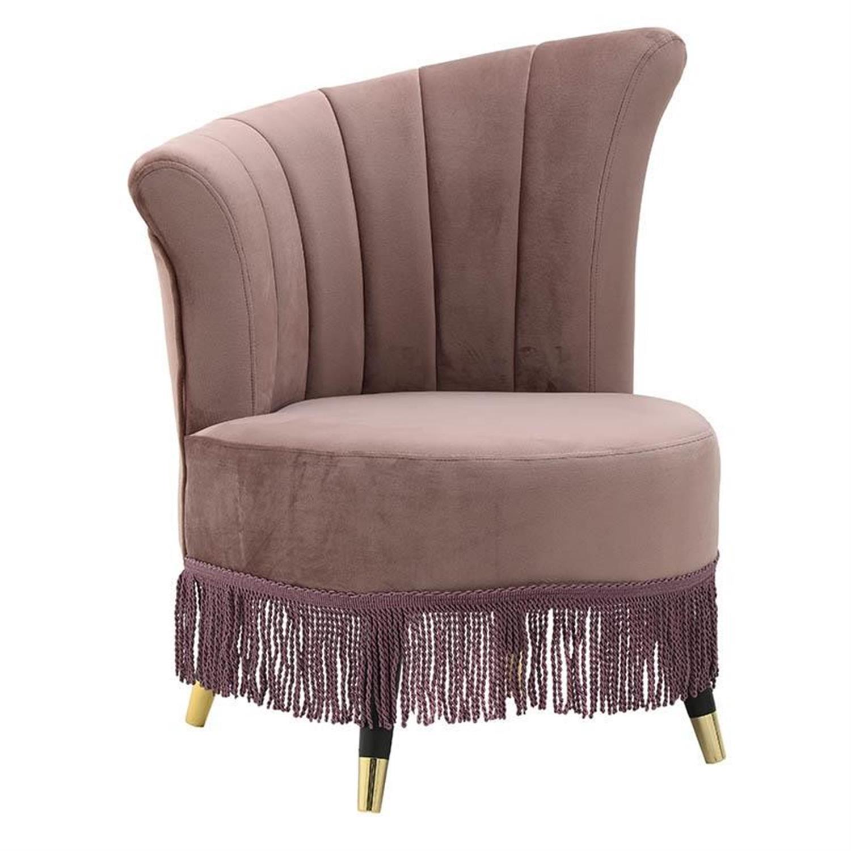 Καρέκλα σκαμπώ με κρόσσια βελούδινη ροζ 77x63x85cm Inart 3-50-431-0012