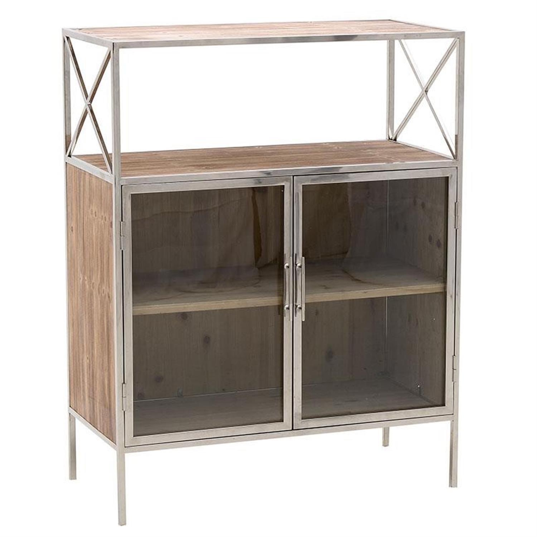 Ντουλάπι/Βιτρίνα ξύλινη/μεταλλική natural/ασημί 84x40x108cm Inart 3-50-450-0007