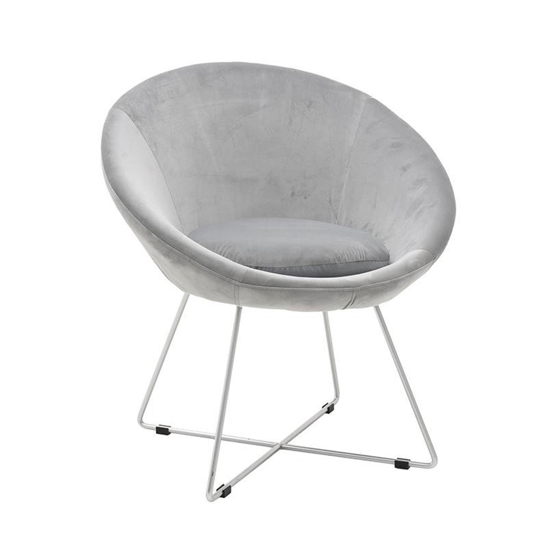 Καρέκλα/Πολυθρόνα βελούδινη γκρι ασημί μεταλλικό/ πόδια 78x68x80/45cm Inart 3-50-466-0032