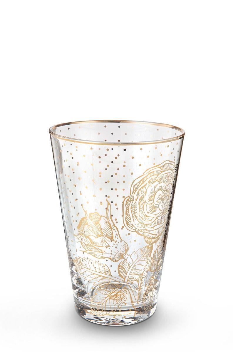 Ποτήρι νερού Royal Golden Flower 370ml γυάλινο διάφανο/χρυσό Pip Studio 51131014