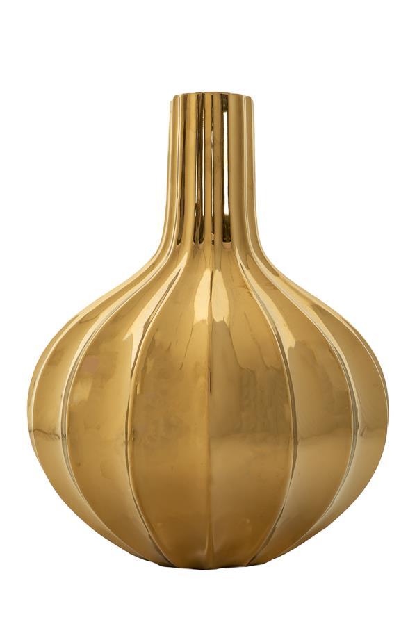 Βάζο διακοσμητικό γυαλιστερό με ρίγες κεραμικό χρυσό 23x23x30cm