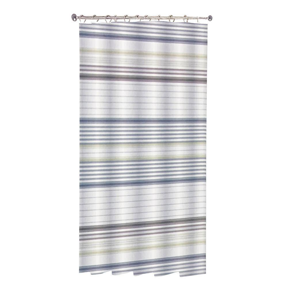 Κουρτίνα μπάνιου ρίγες polyester πολύχρωμη με 12 κρίκους 180x180cm