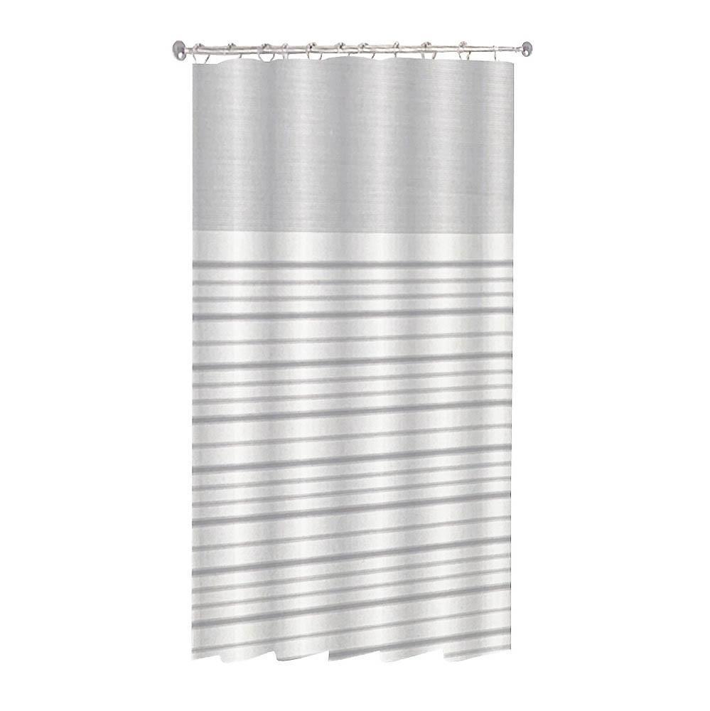 Κουρτίνα μπάνιου ρίγες polyester γκρι με 12 κρίκους 180x180cm