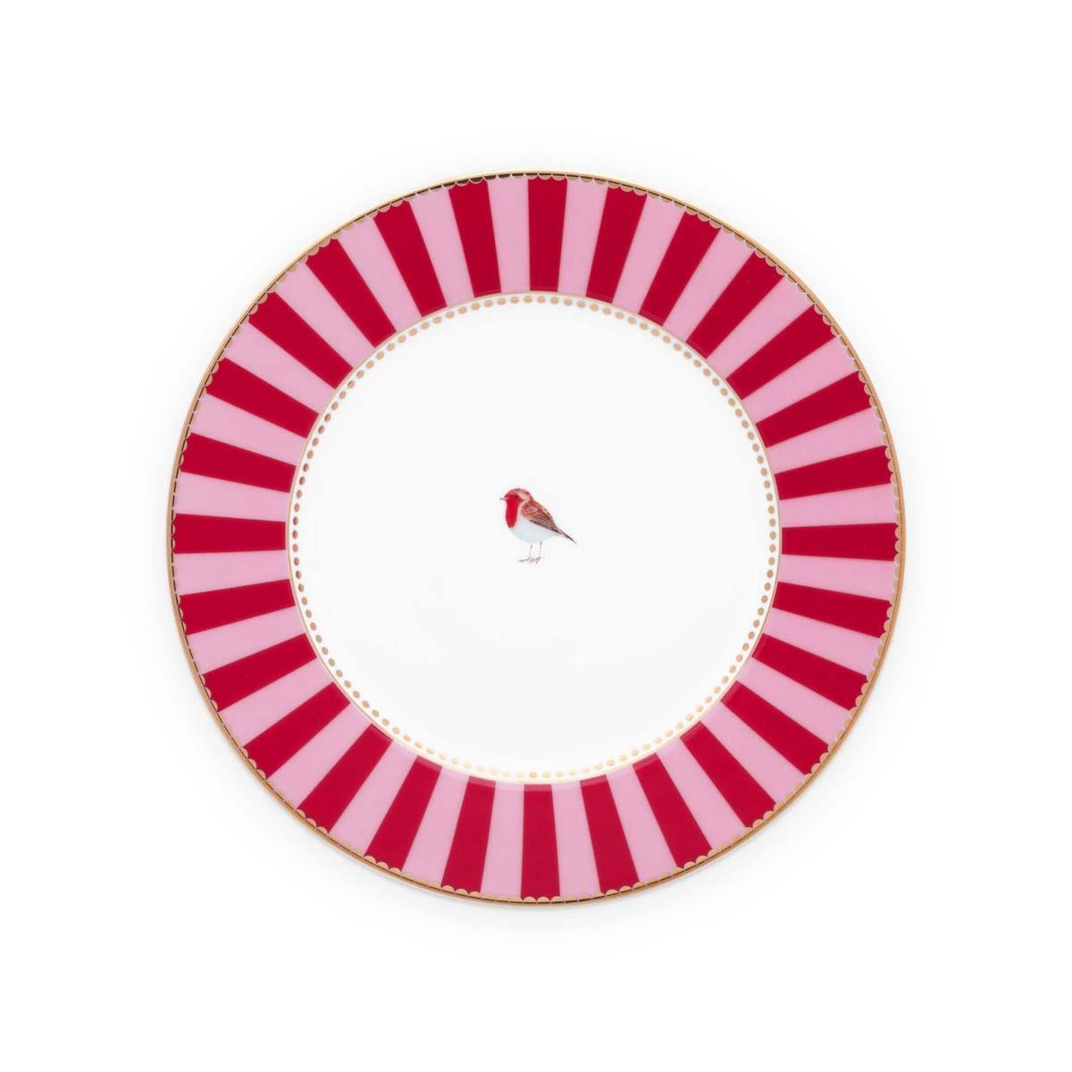 Πιάτο Love Birds πορσελάνινο κόκκινο ρίγες 17cm Pip Studio 51001238