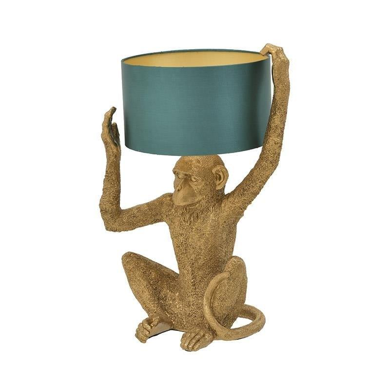Φωτιστικό επιτραπέζιο πίθηκος μονόφωτο polyresin χρυσό/πράσινο 35x30x57cm Inart 3-15-784-0010