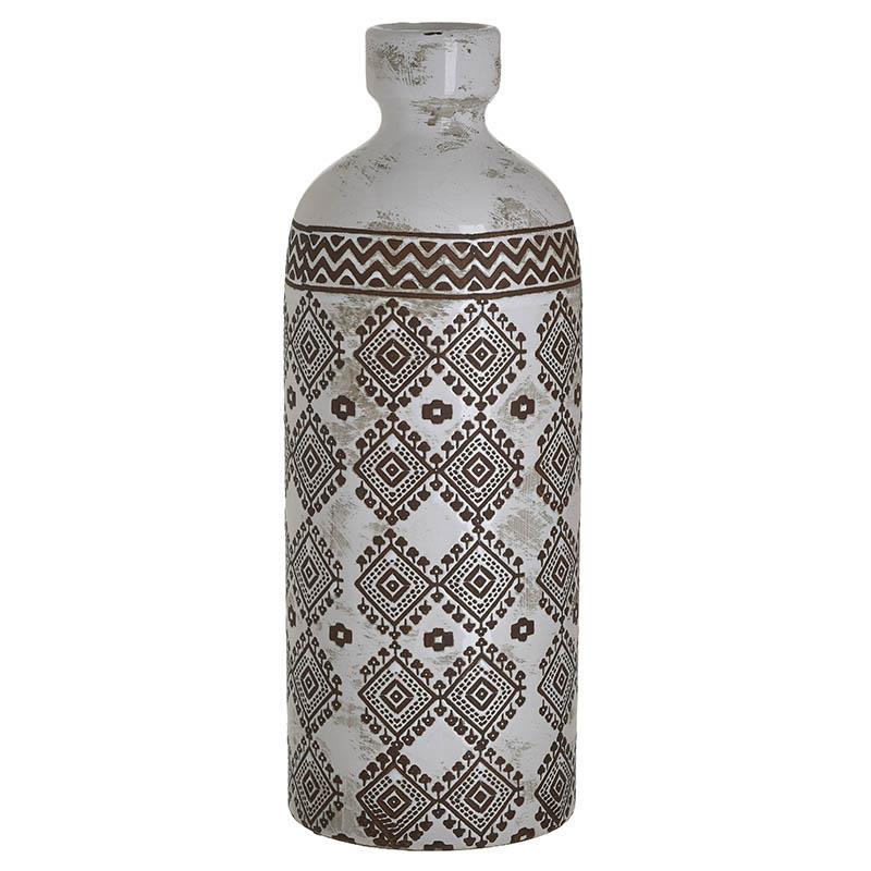 Βάζο διακοσμητικό κεραμικό λευκό/καφέ 14x14x37cm Inart 3-70-685-0221