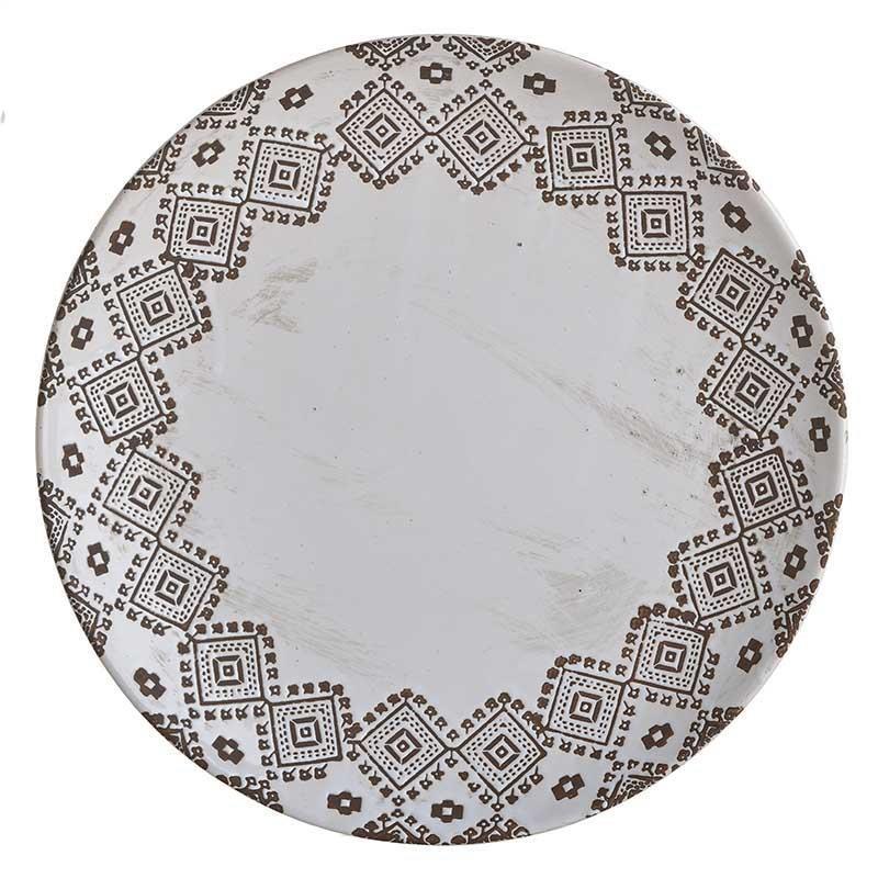 Πιατέλα διακοσμητική κεραμική λευκή/καφέ 33.5×33.5x5cm Inart 3-70-685-0222
