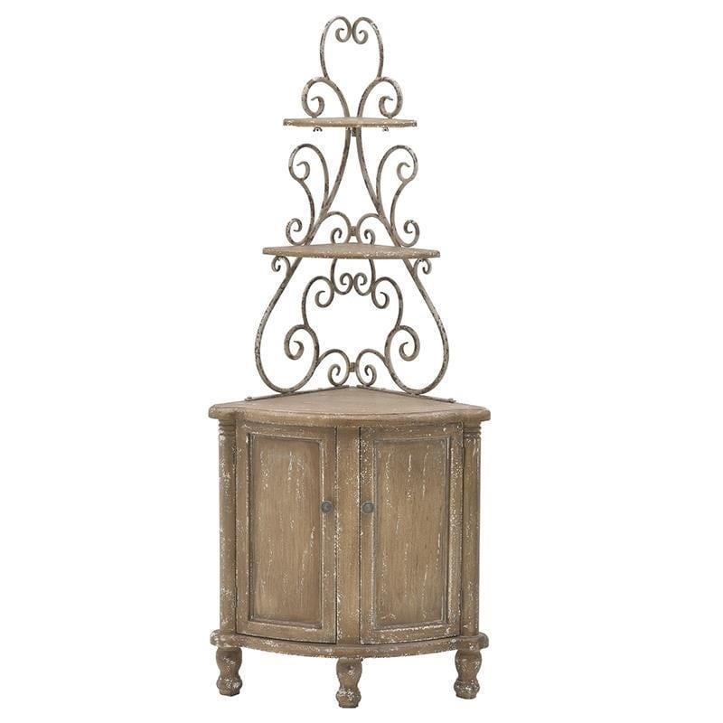 Ντουλάπι με ράφια ξύλινο/μεταλλικό αντικέ μπεζ 65x47x155cm Inart 3-50-108-0003