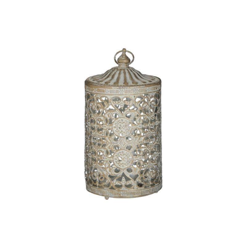 Φανάρι LED μεταλλικό/γυάλινο αντικέ λευκό/χρυσό 9x9x16cm Inart 3-70-912-0128