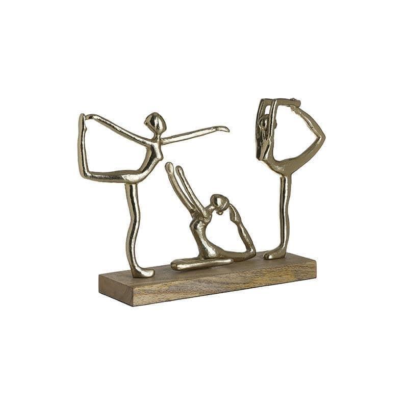 Διακοσμητικό επιτραπέζιο stretching ξύλινο/αλουμινίου χρυσό/natural 40x10x28cm Inart 3-70-757-0014
