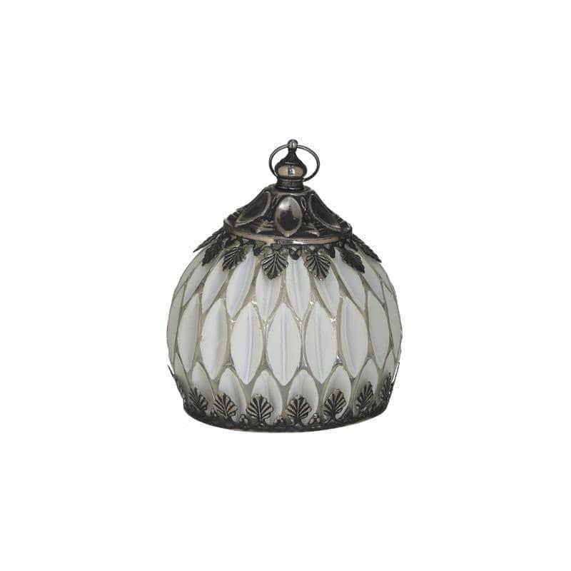 Φαναράκι LED μεταλλικό/γυάλινο αντικέ λευκό/ασημί 11x11x12cm Inart 3-70-912-0132