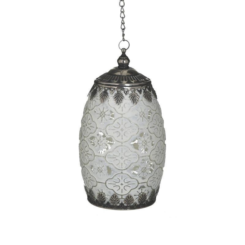 Φανάρι LED μεταλλικό/γυάλινο αντικέ λευκό/ασημί 10x10x18cm Inart 3-70-912-0138