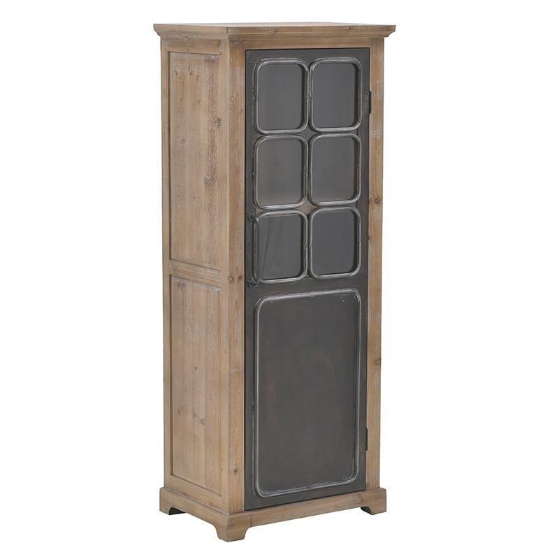 Βιτρίνα ξύλινη/μεταλλική natural/μαύρη 56x40x140cm Inart 3-50-966-0007
