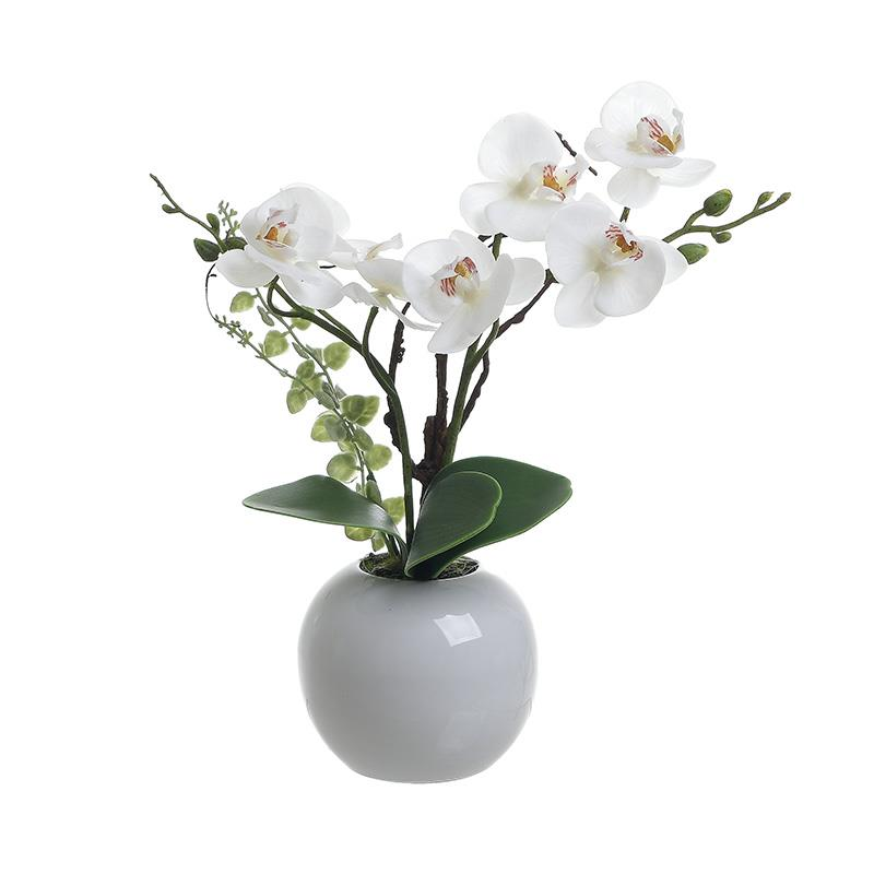 Λουλούδι σε γλάστρα κεραμικό/υφασμάτινο πράσινο/λευκό Υ55cm Inart 3-85-246-0215