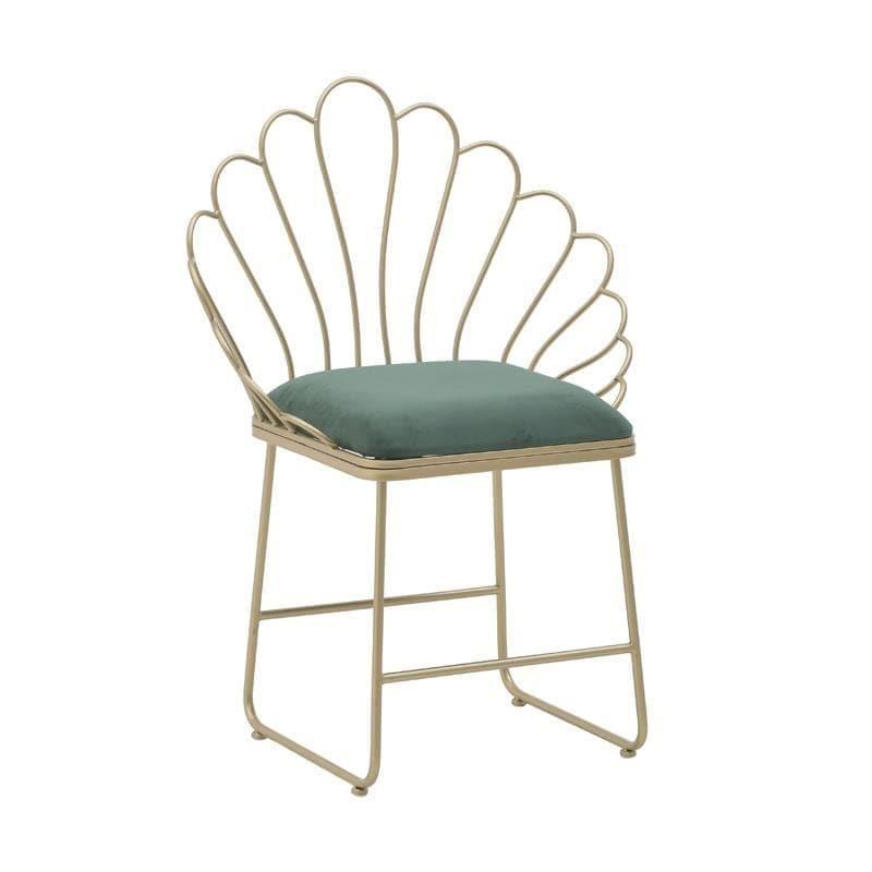 Καρέκλα μεταλλική/βελούδινη χρυσή/κυπαρισσί 62x48x89cm Inart 3-50-973-0002