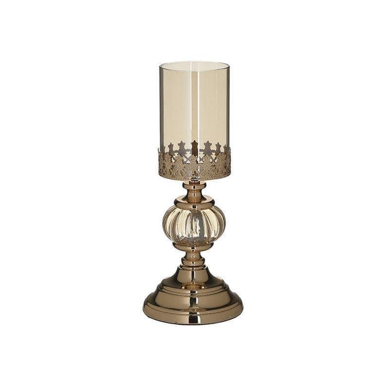 Κηροπήγιο επιτραπέζιο μεταλλικό/γυάλινο χρυσό 12x12x27cm Inart 3-70-233-0062