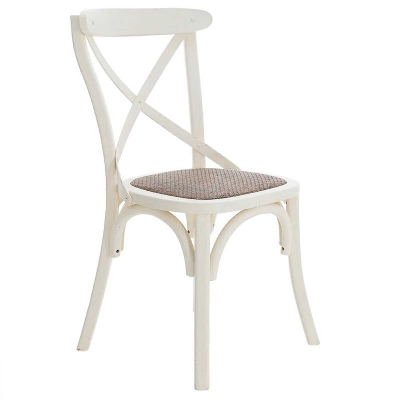 Καρέκλα μπιστρό ξύλινη με ψάθινο κάθισμα αντικέ λευκή 45x42x91cm Inart 3-50-597-0000