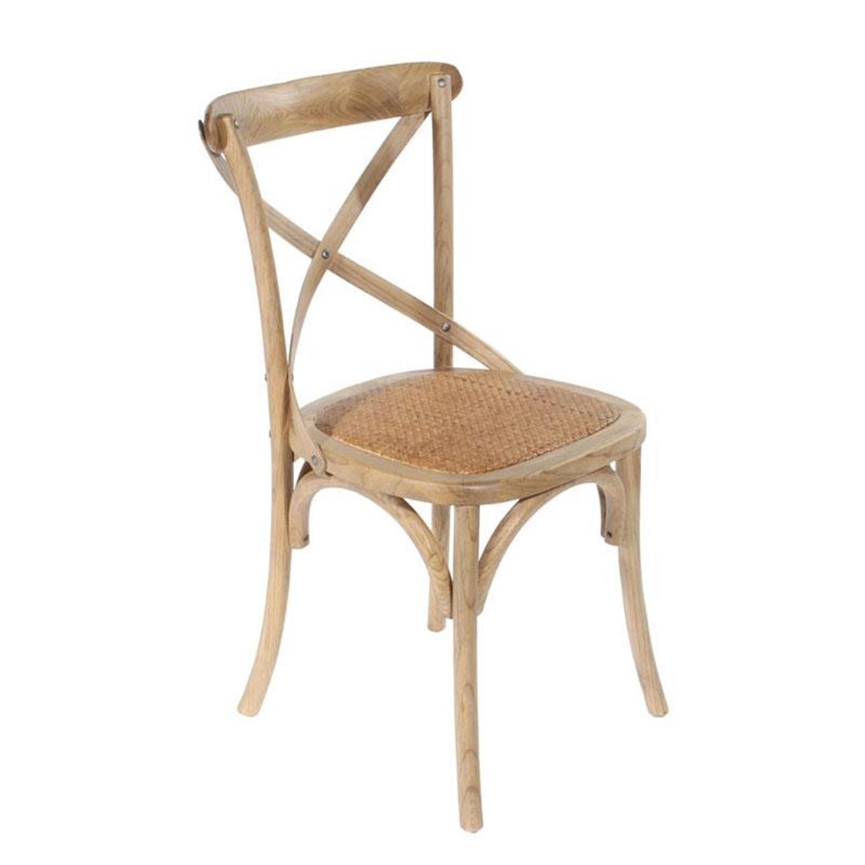 Καρέκλα μπιστρό ξύλινη natural με ψάθα 45x42x87cm Inart 3-50-597-0035