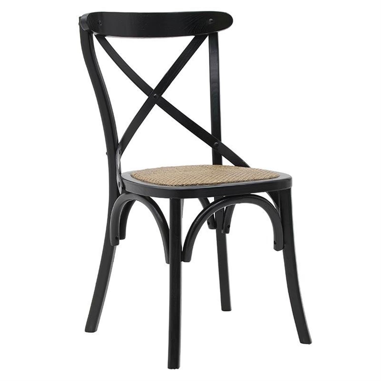Καρέκλα μπιστρό ξύλινη με ψάθινο κάθισμα μαύρη 45x42x91cm Inart 3-50-597-0060