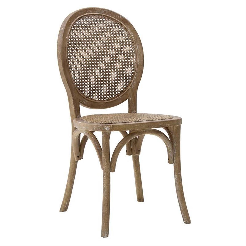 Καρέκλα ξύλινη με ραττάν αντικέ καφέ 45x42x94cm Inart 3-50-597-0061