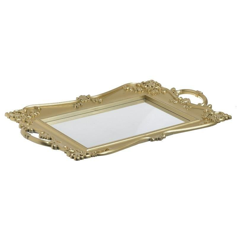 Δίσκος σερβιρίσματος με καθρέπτη pl αντικέ χρυσός 40x25x3cm Inart 3-70-413-0015