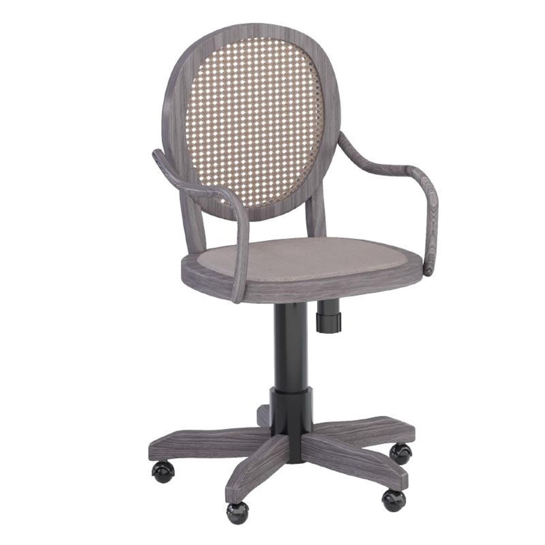 Καρέκλα τροχήλατη ξύλινη με ραττάν αντικέ μπεζ 45x42x88cm Inart 3-50-597-0063