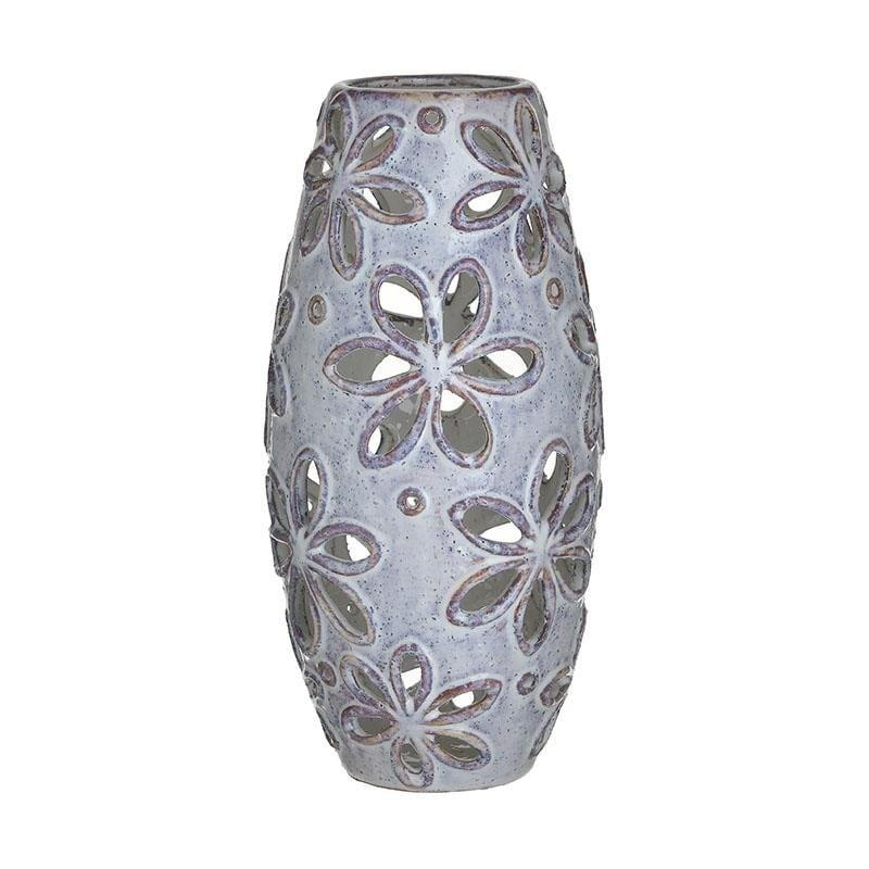 Βάζο διακοσμητικό κεραμικό διάτρητο μπεζ 14x14x29cm Inart 3-70-078-0031