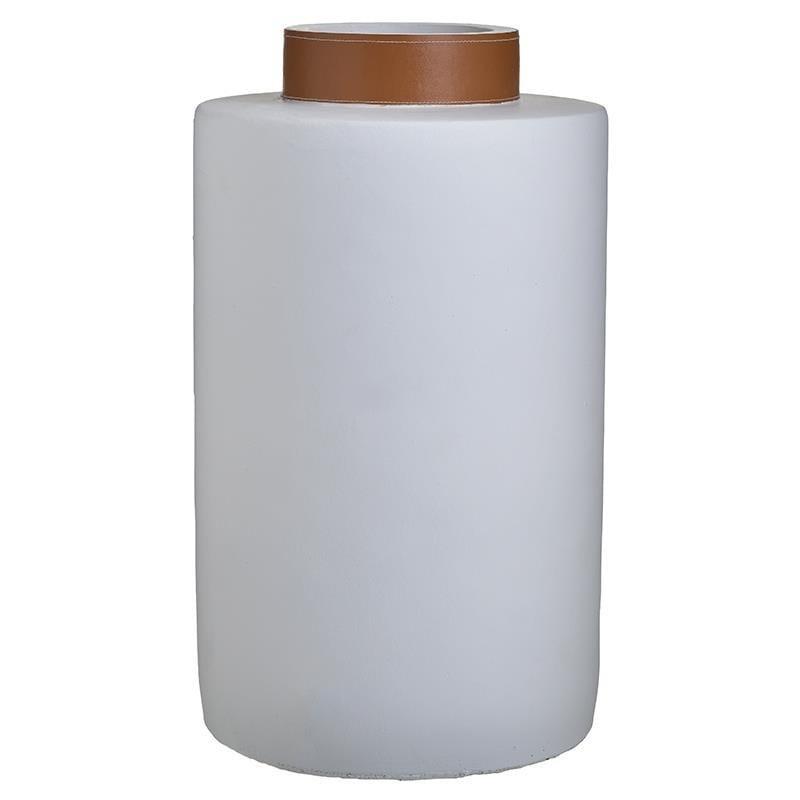 Βάζο διακοσμητικό τσιμεντένιο λευκό/καφέ 23x23x40cm Inart 3-70-507-0338