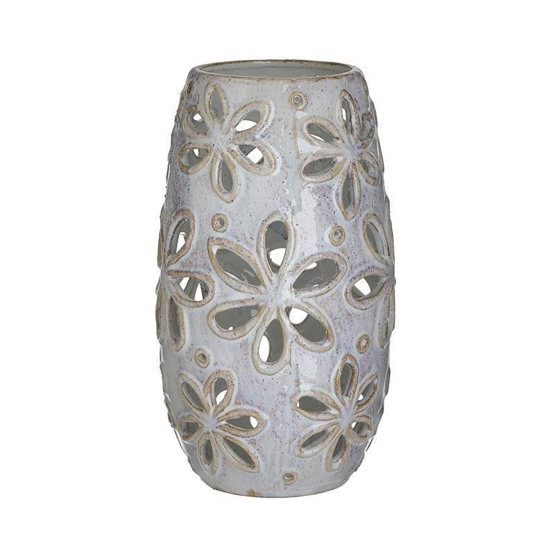Βάζο διακοσμητικό κεραμικό διάτρητο μπεζ 14x14x26cm Inart 3-70-078-0032