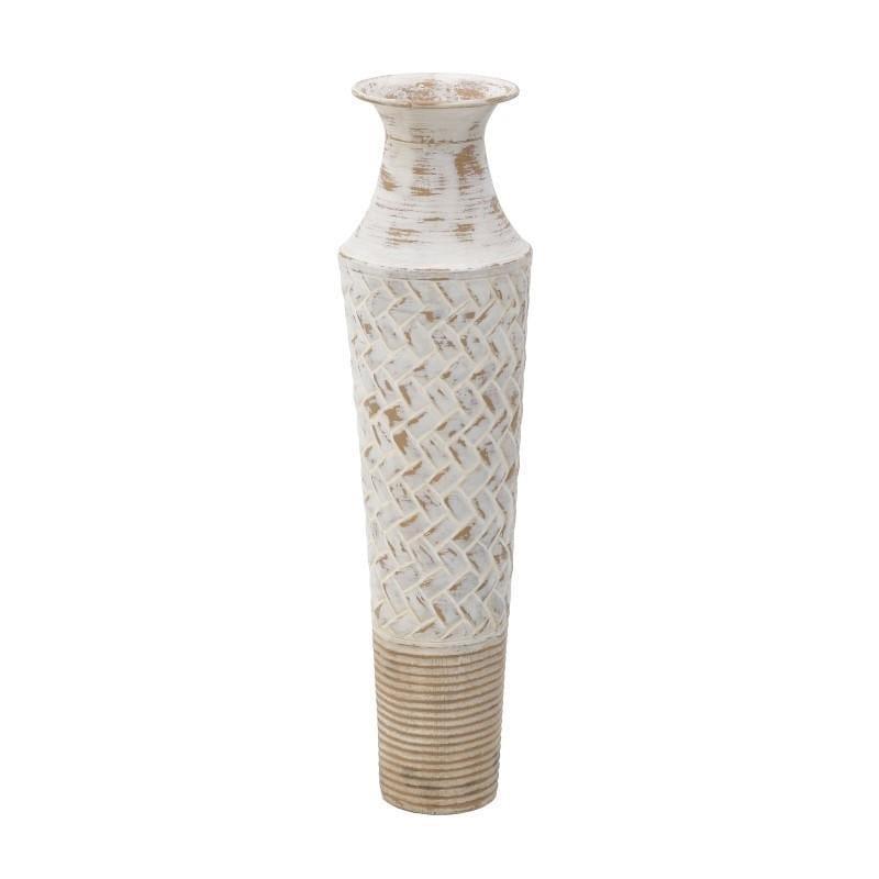 Βάζο διακοσμητικό μεταλλικό αντικέ κρεμ/μπεζ 12x12x43cm Inart 3-70-447-0149