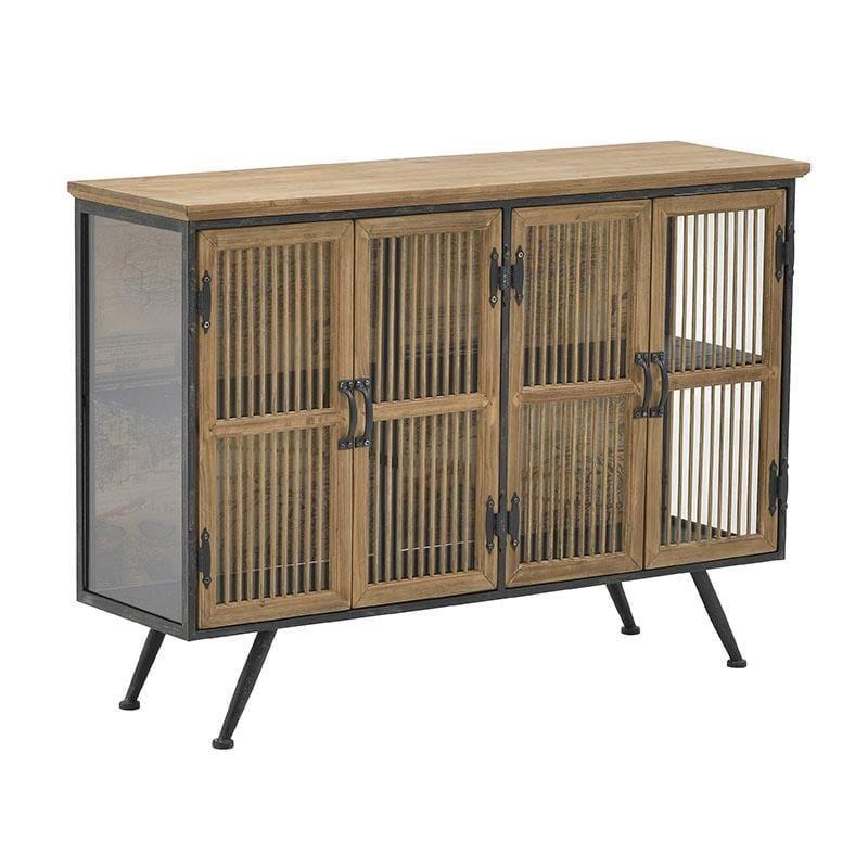 Μπουφές ξύλινος/μεταλλικός natural/μαύρος 110x34x80cm Inart 3-50-102-0029