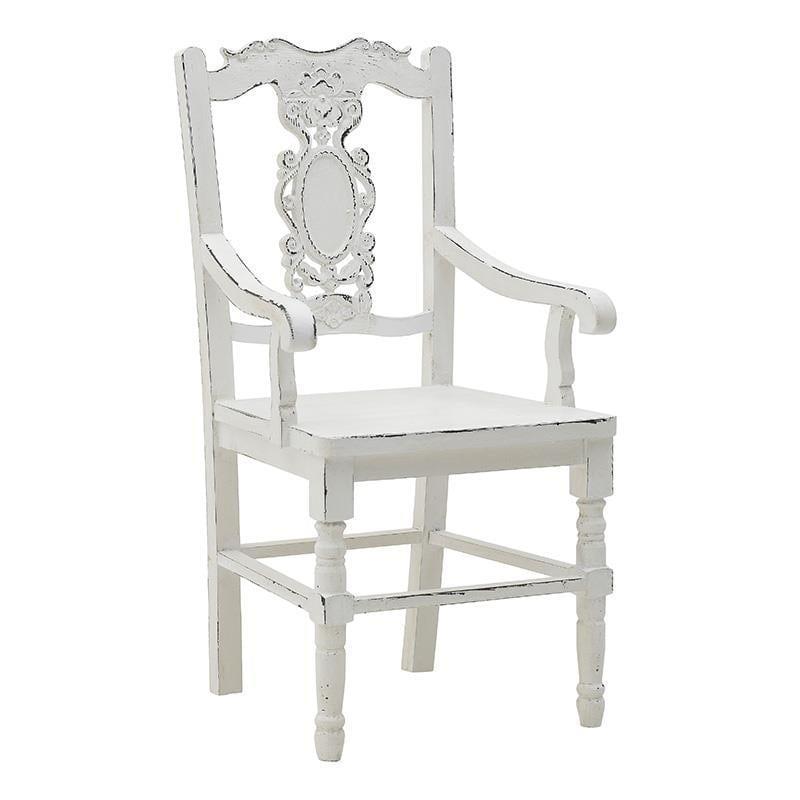 Καρέκλα ξύλινη αντικέ λευκή 50x43x100cm Inart 3-50-232-0017