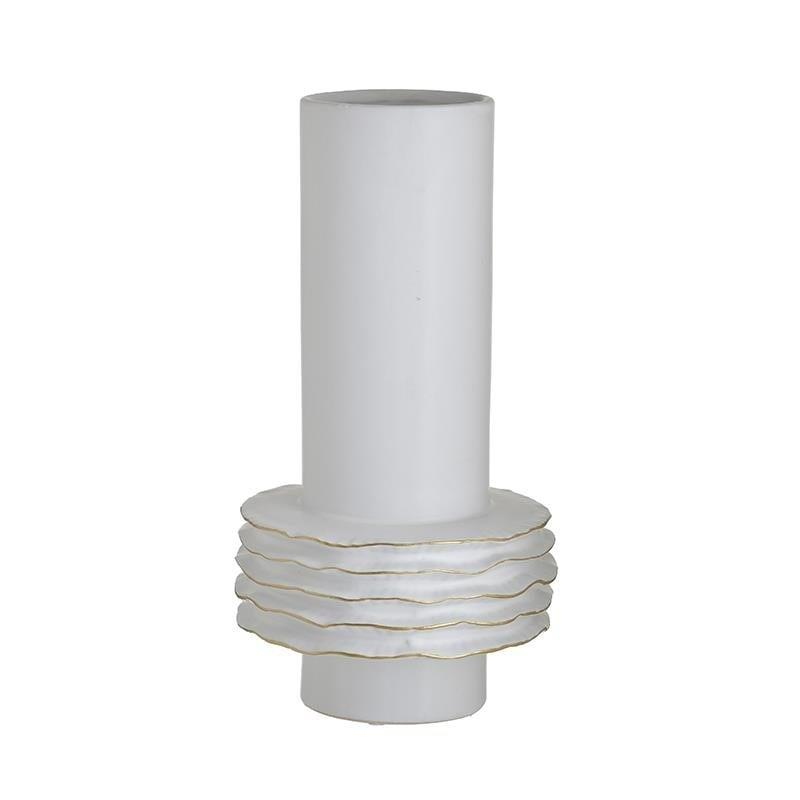 Βάζο διακοσμητικό κεραμικό λευκό/χρυσό 18x18x33cm Inart 3-70-266-0043