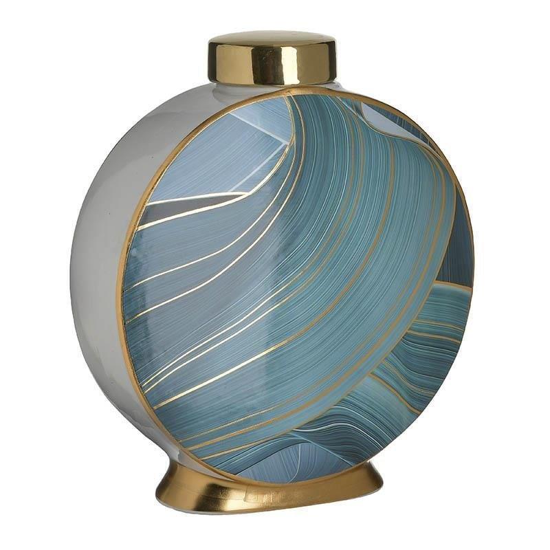 Βάζο διακοσμητικό με καπάκι κεραμικό μπλε/χρυσό 28x13x30cm Inart 3-70-902-0149