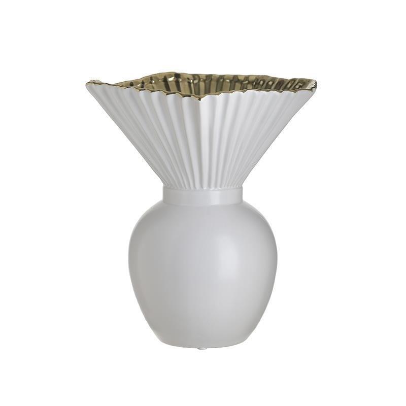 Βάζο διακοσμητικό κεραμικό λευκό/χρυσό 26x23x29cm Inart 3-70-266-0044