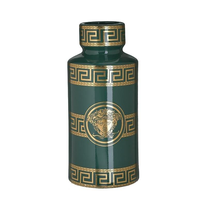 Βάζο διακοσμητικό με καπάκι μαίανδρος κεραμικό πράσινο/χρυσό 14x14x30cm Inart 3-70-902-0165