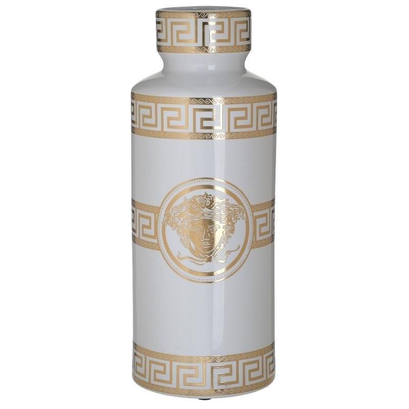 Βάζο διακοσμητικό με καπάκι μαίανδρος κεραμικό λευκό/χρυσό 14x14x36cm Inart 3-70-902-0166