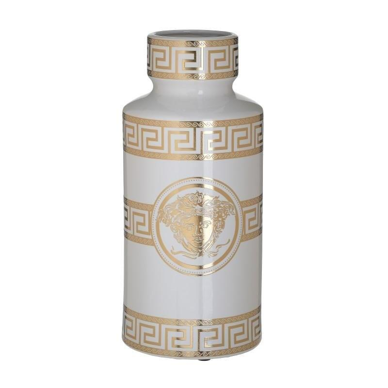 Βάζο διακοσμητικό με καπάκι μαίανδρος κεραμικό λευκό/χρυσό 14x14x30cm Inart 3-70-902-0167