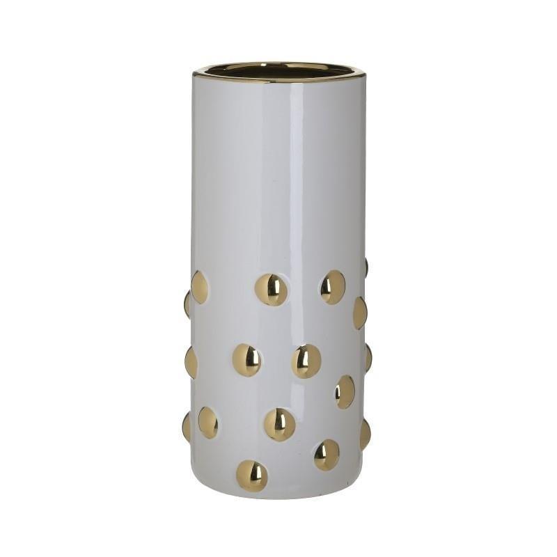 Βάζο διακοσμητικό κεραμικό λευκό/χρυσό 14x14x30cm Inart 3-70-902-0168