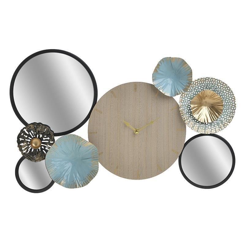Ρολόι τοίχου μεταλλικό/καθρέπτης/ξύλινο(mdf) multicolor 52x4x34cm Inart 3-20-874-0012